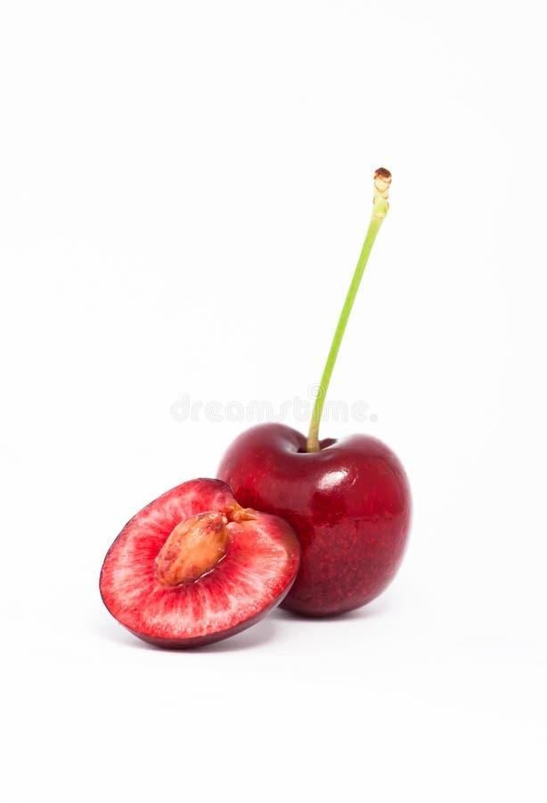 樱桃半一个红色 免版税库存照片