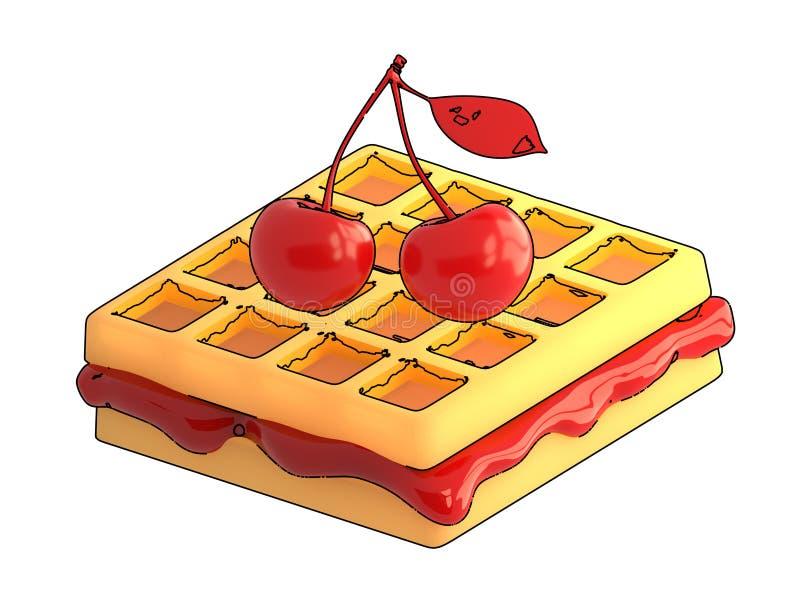 樱桃和奶蛋烘饼与等高在白色背景 3d烈 免版税库存图片