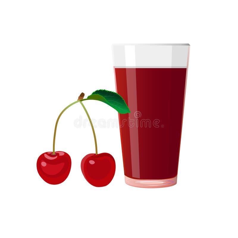 樱桃和杯汁液 向量例证