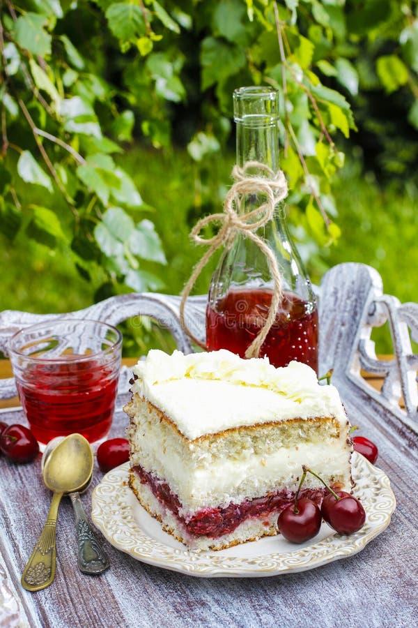 樱桃和椰子夹心蛋糕 库存图片