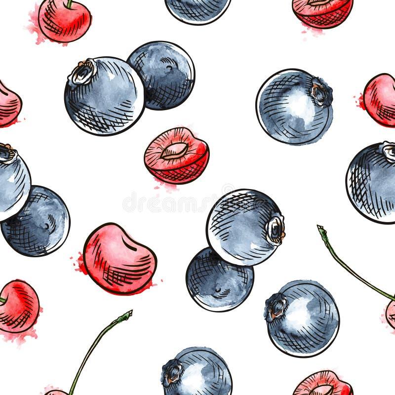 樱桃和蓝莓无缝的样式 库存例证