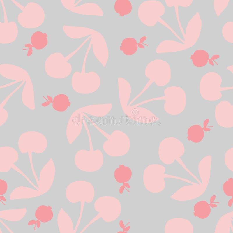 樱桃和蓝莓,无缝的样式,在淡色 库存例证