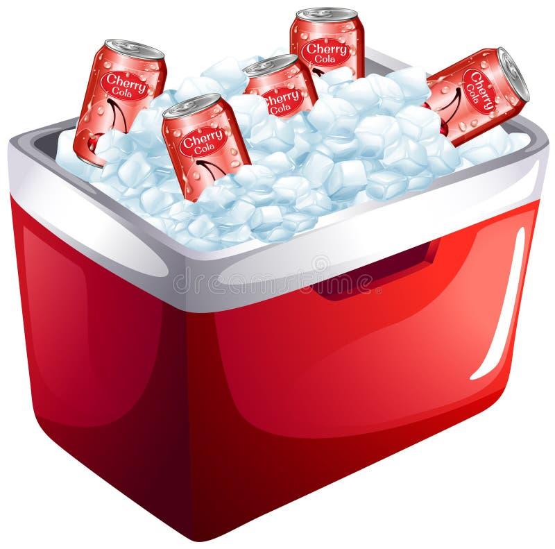 樱桃在冰盒的汽水罐 皇族释放例证