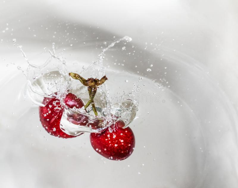 樱桃在水中 免版税库存照片