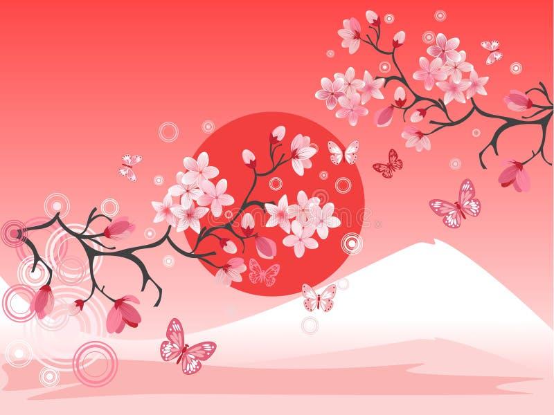 樱桃日本人结构树 皇族释放例证