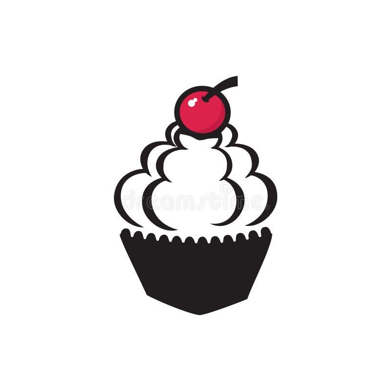 樱桃杯形蛋糕奶油面包店简单的标志标志 向量例证