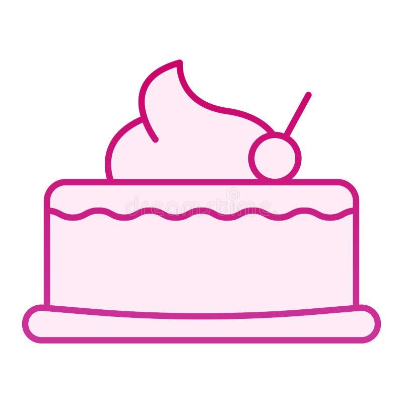樱桃杯形蛋糕平的象 与樱桃桃红色象的蛋糕在时髦平的样式 美好的梯度样式设计,设计为 向量例证