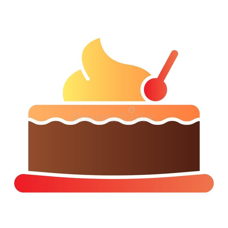 樱桃杯形蛋糕平的象 与樱桃颜色象的蛋糕在时髦平的样式 美好的梯度样式设计,设计为 皇族释放例证