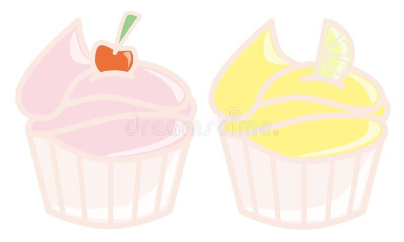 樱桃杯形蛋糕柠檬 向量例证