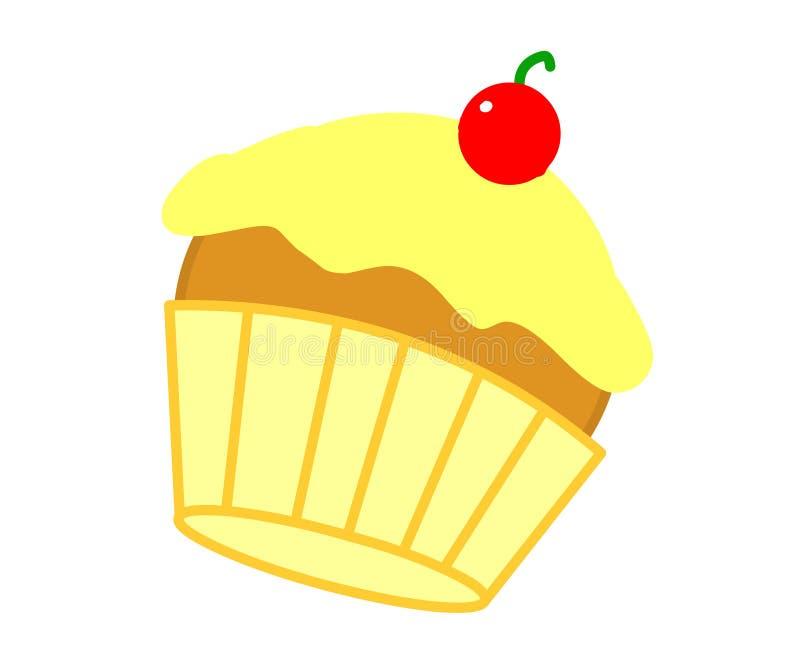 樱桃杯形蛋糕黄色 免版税库存照片