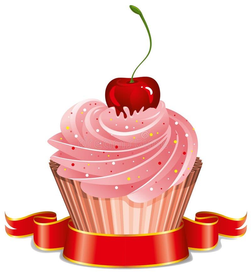 樱桃杯形蛋糕 库存例证