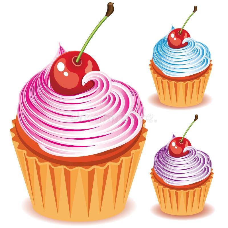 樱桃杯形蛋糕 皇族释放例证