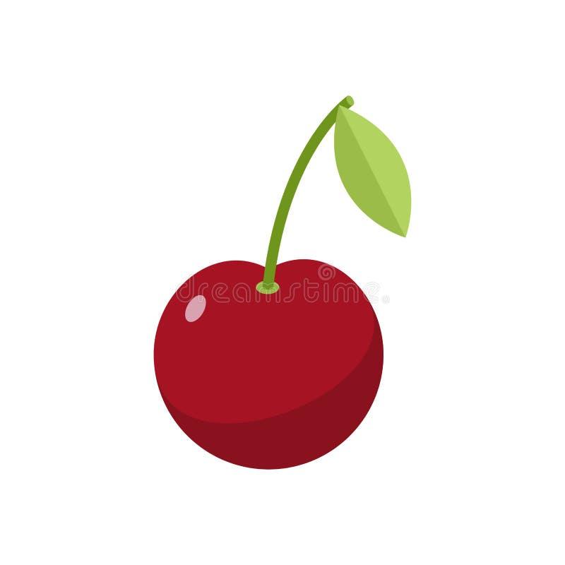 樱桃查出 背景浆果樱桃手指保留白色 与gr的红色莓果 库存例证