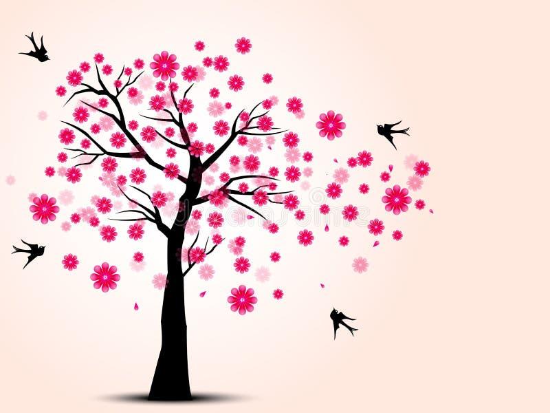 樱桃树和燕子鸟剪影  库存例证