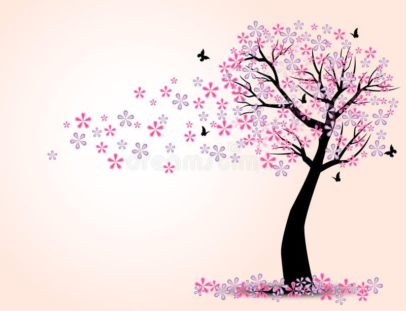 樱桃树和蝴蝶剪影  皇族释放例证