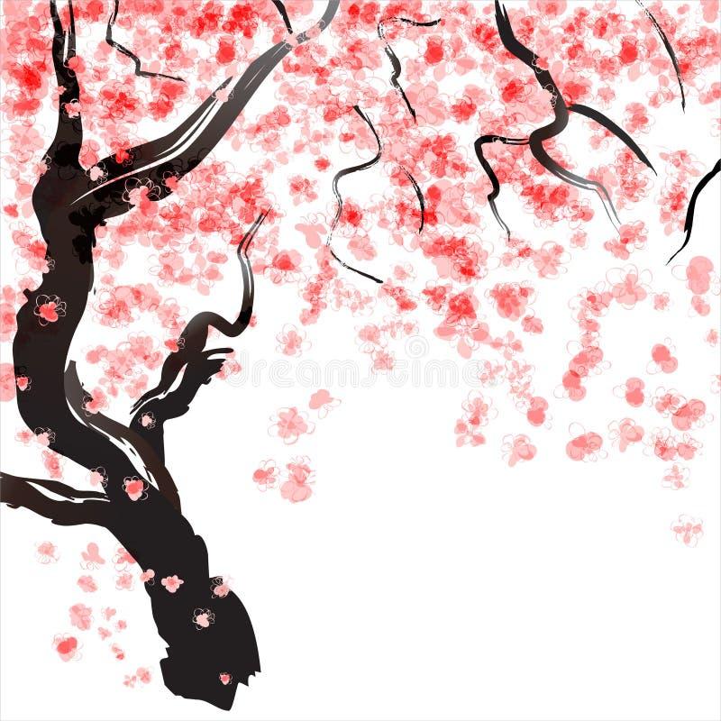 樱桃树开花 向量例证