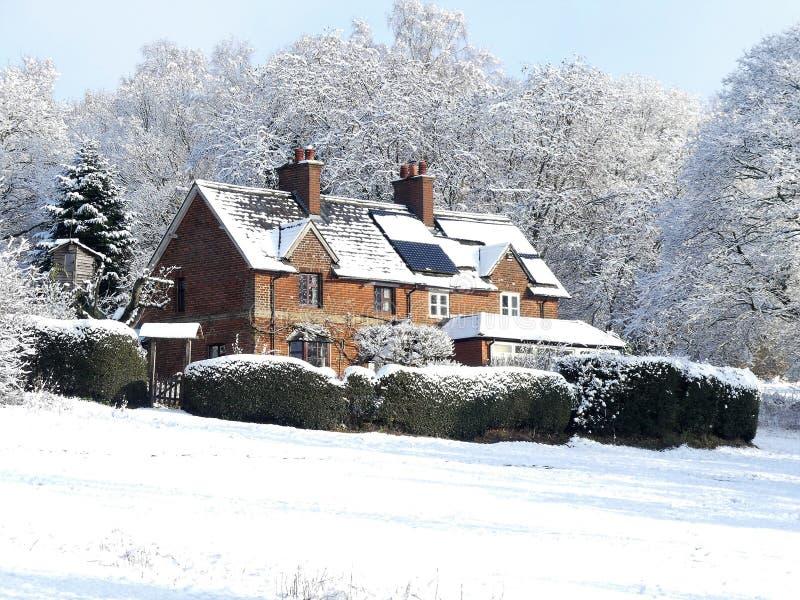 樱桃树Dell,Chorleywood共同性,在冬天雪的Chorleywood 库存图片