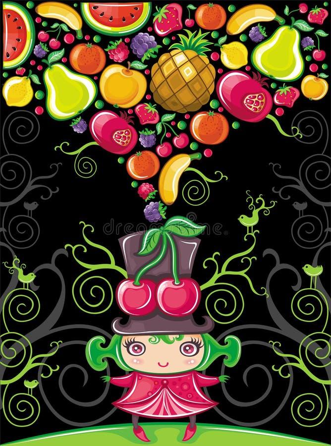 樱桃水果的女孩系列 向量例证
