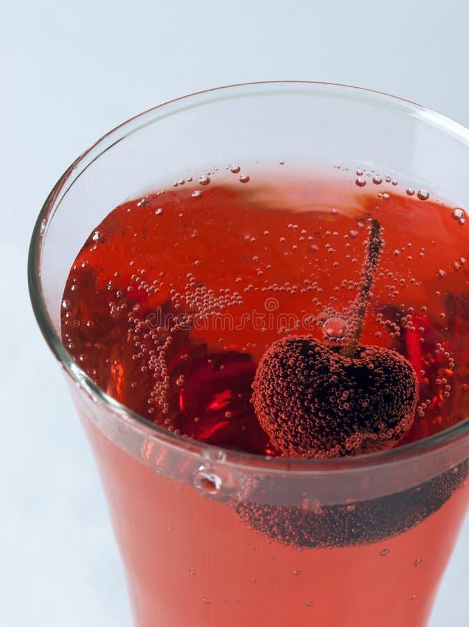 樱桃汁关闭玻璃  免版税库存照片