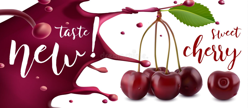 樱桃汁 与汁液飞溅、3d样式传染媒介横幅的新鲜的樱桃果子或标签 皇族释放例证
