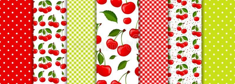 樱桃莓果和春天几何无缝的样式设置了传染媒介 向量例证