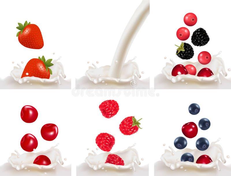 樱桃莓红色集合草莓 库存例证