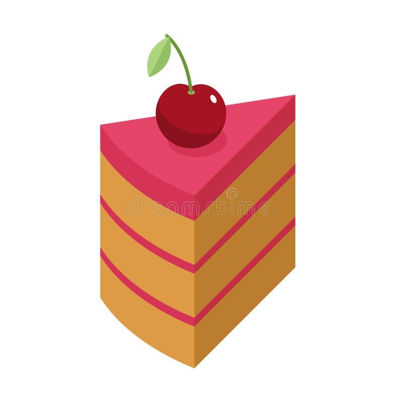樱桃蛋糕片断用被隔绝的莓果 在白色bac的樱桃饼 向量例证