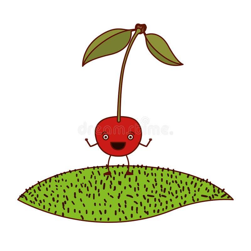 樱桃讽刺画白色背景与词根和叶子的在草 皇族释放例证