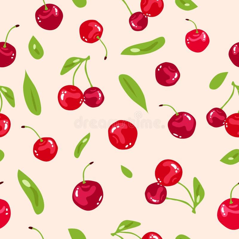 樱桃,红色莓果新无缝的样式纹理抽象背景传染媒介例证、菜和果子圆滑的人概念 皇族释放例证
