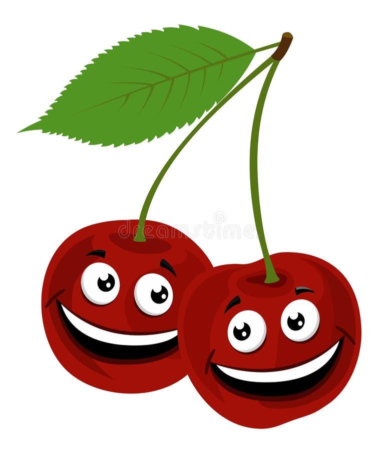樱桃 一个滑稽的对的光栅例证与面孔的樱桃,在白色背景 库存例证