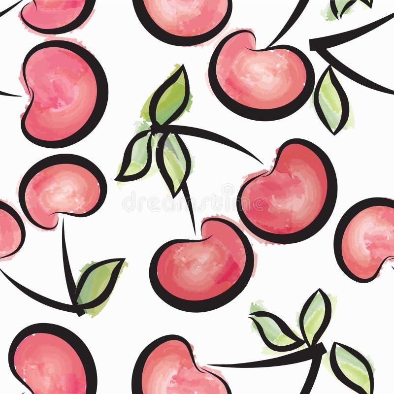 樱桃水彩无缝的样式 水多的莓果夏天背景 库存例证