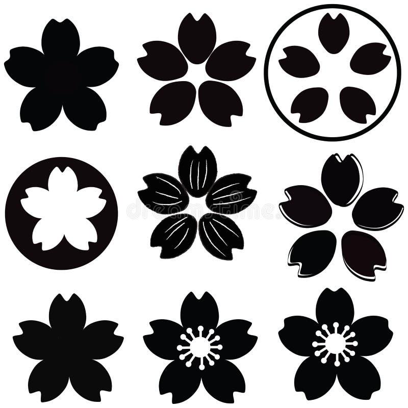 樱花花剪影集合传染媒介 库存例证