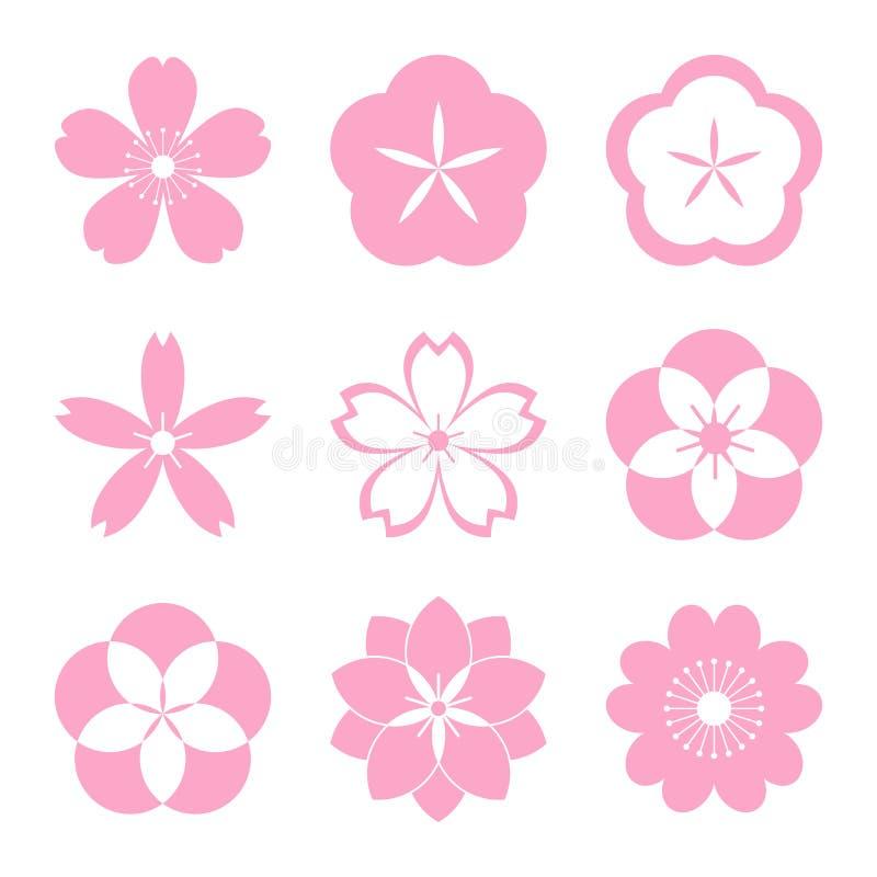 樱花象集合 向量例证