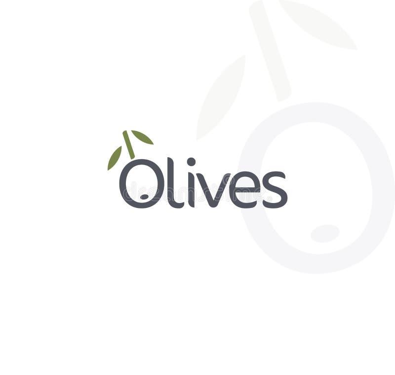 橄榄传染媒介商标 黑成熟和绿橄榄,与叶子的分支 鲜美食品象征 简单的略写法设计 库存例证