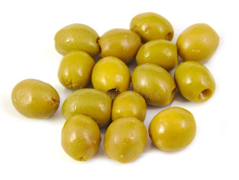 橄榄充满在白色背景的鲥鱼 图库摄影