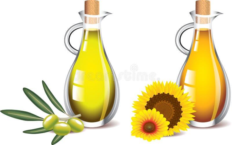 橄榄和在白色隔绝的向日葵油 向量例证