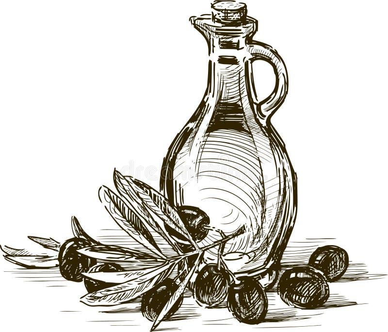 橄榄和橄榄油 皇族释放例证