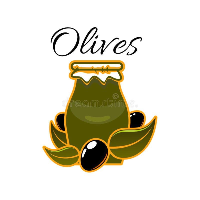 橄榄和橄榄油Vectror象在瓶子 向量例证