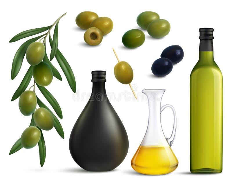 橄榄和油现实集合 皇族释放例证