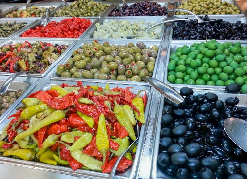 橄榄和胡椒酒吧 图库摄影
