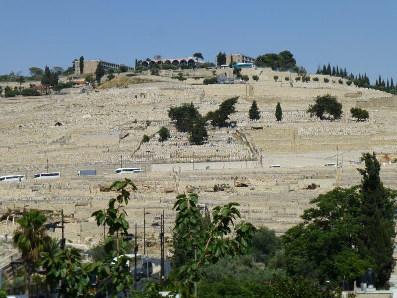 橄榄挂接的古老犹太墓地 免版税库存照片