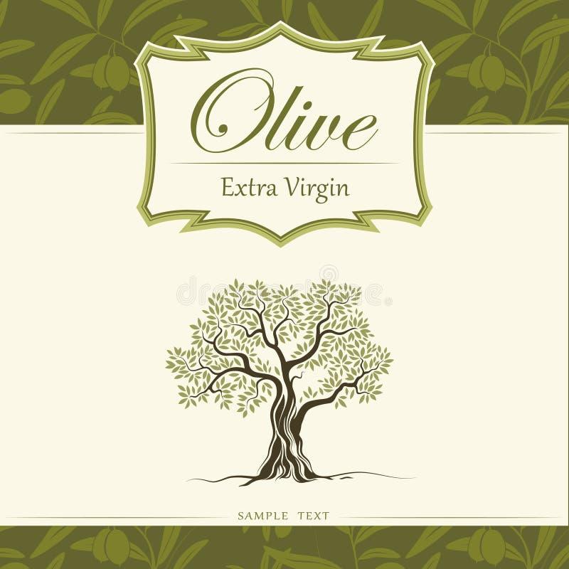 橄榄树。橄榄油。传染媒介橄榄树。对labe 免版税库存图片