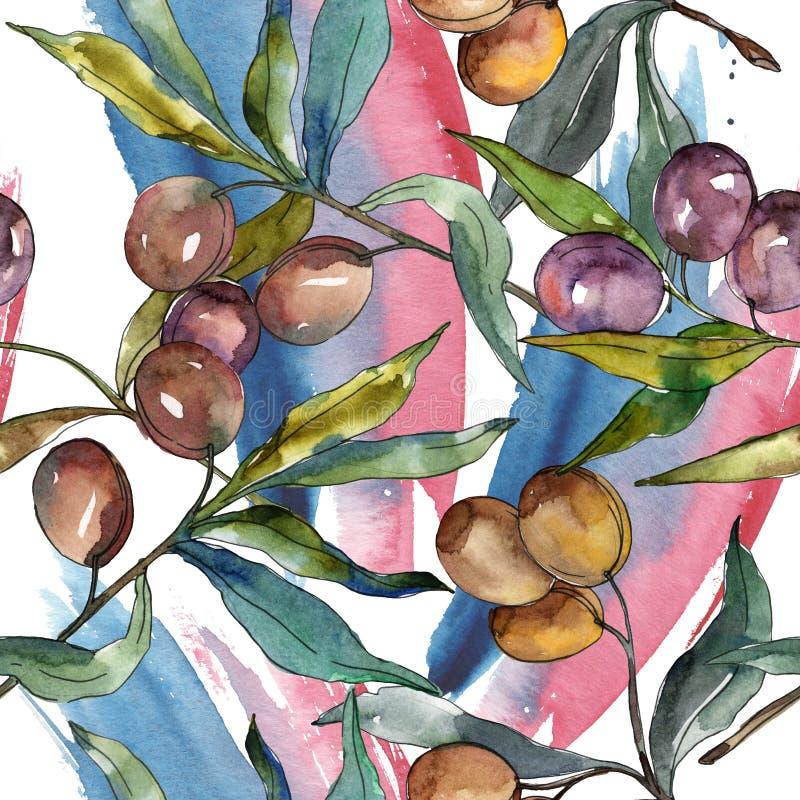 橄榄树枝用黑和绿色果子 r E 向量例证