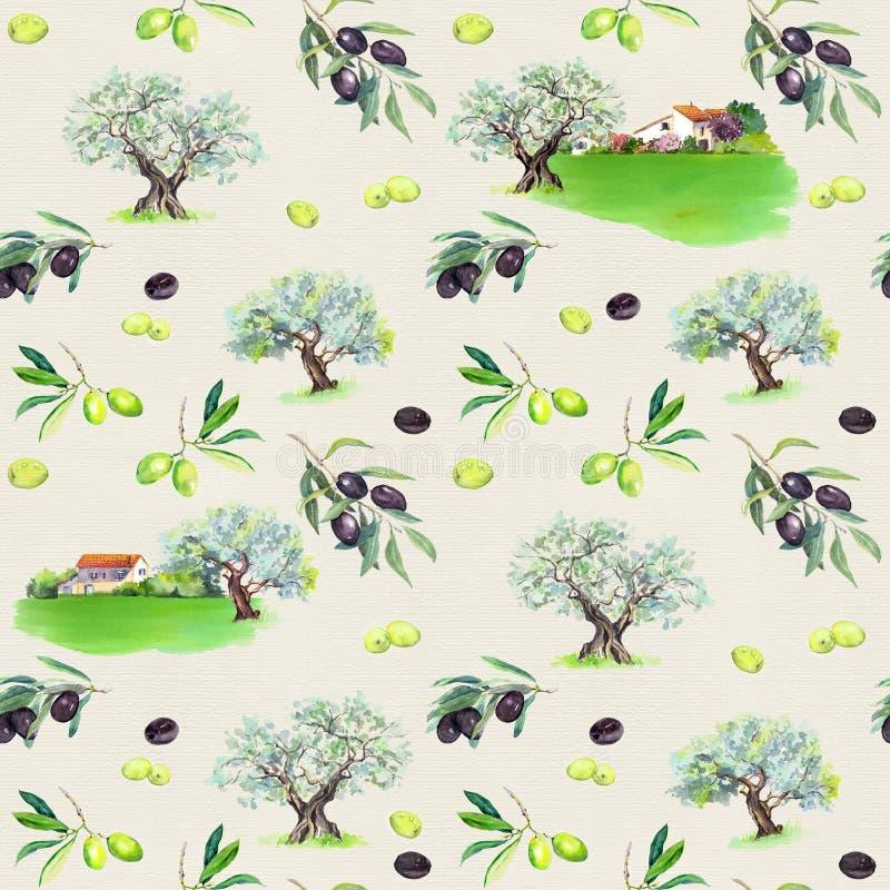 橄榄树枝,橄榄树, provencal房子 法国无缝的样式 普罗旺斯的水彩 向量例证