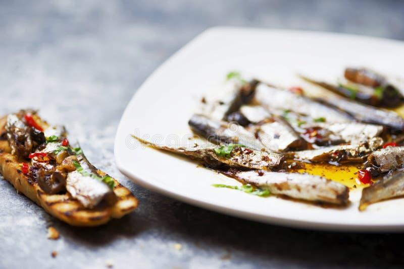 橄榄油中的西班牙沙丁鱼 库存图片