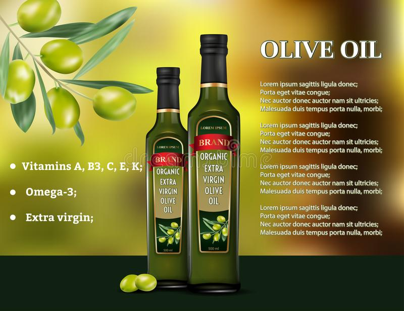 橄榄油产品广告 向量3d例证 烹调橄榄油玻璃瓶模板设计 油瓶广告 向量例证