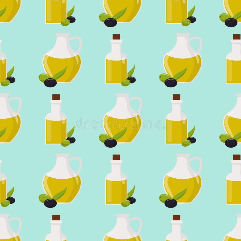 橄榄油传染媒介玻璃瓶优质贞女一些橄榄用叶子无缝的样式健康树叶子分支果子 向量例证