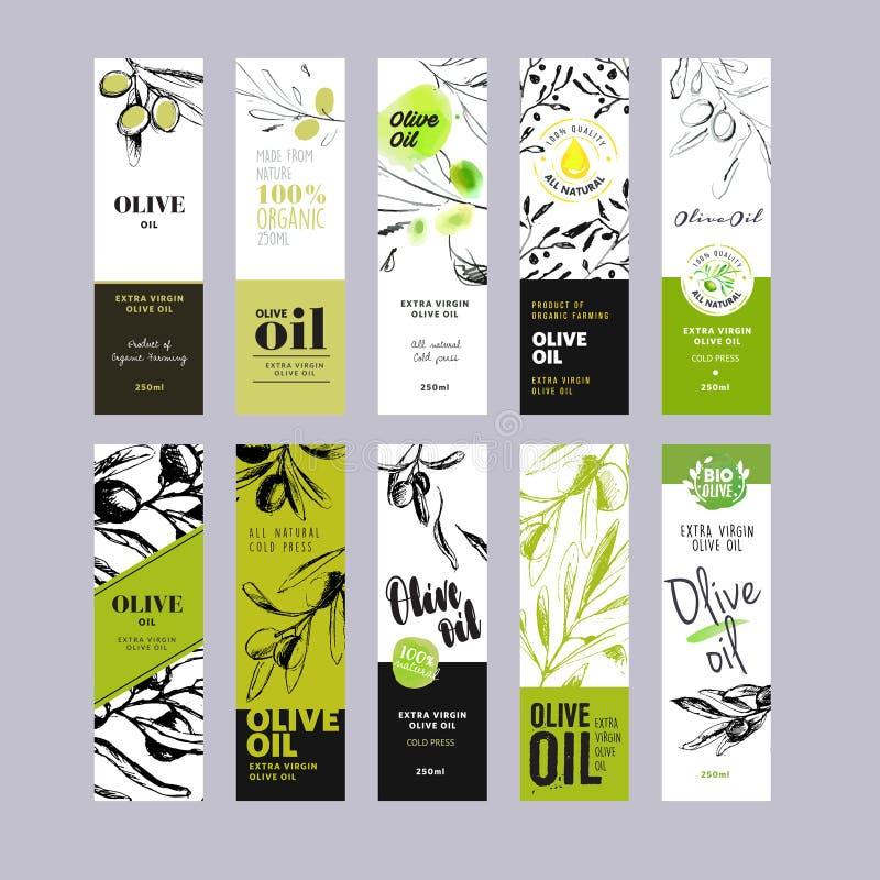 橄榄油标记汇集 向量例证