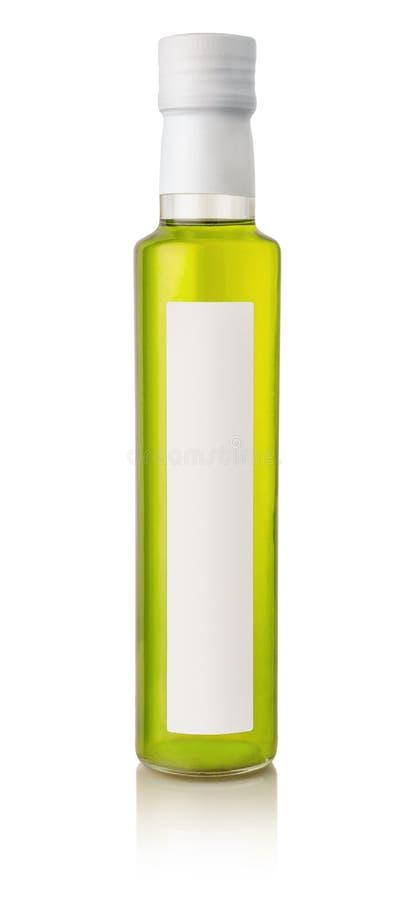 橄榄油瓶正面图有空白的标签的 图库摄影