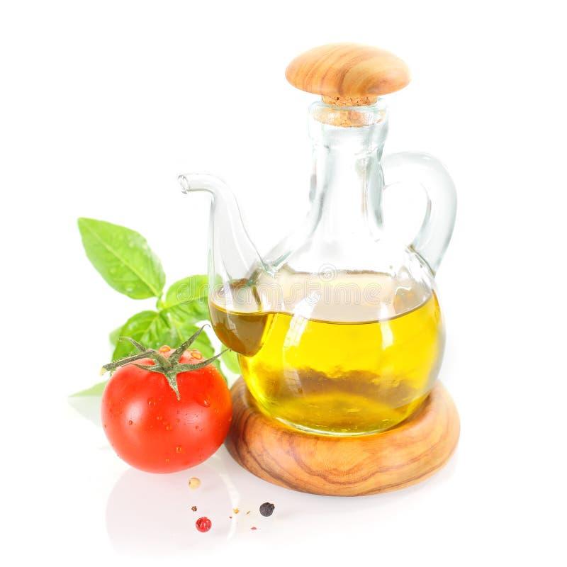 橄榄油调味瓶 免版税图库摄影